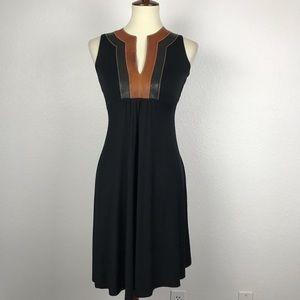 Akiko Leather Trim Knit Mini Dress D500